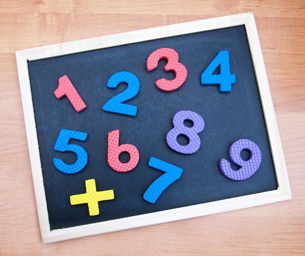 Blackboard with numbers Premium Photo