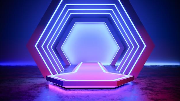 ネオンライトblackgroundと六角形ステージ、コンクリートの床、紫外線、3 dレンダリング Premium写真