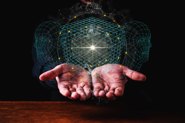 愛ビッグデータのアイデアコンセプトビジネス男の手ショー技術ホログラム手に暗いblackground Premium写真