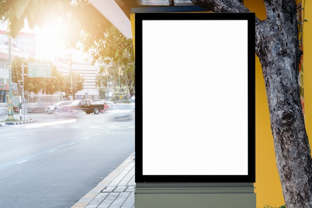 Blank advertising panel on a street. Premium Photo
