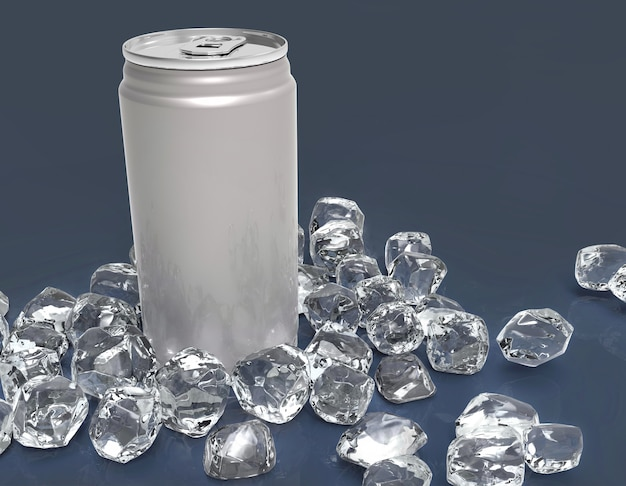 Blank aluminium can mockup and ice cube on clear background. Premium Photo