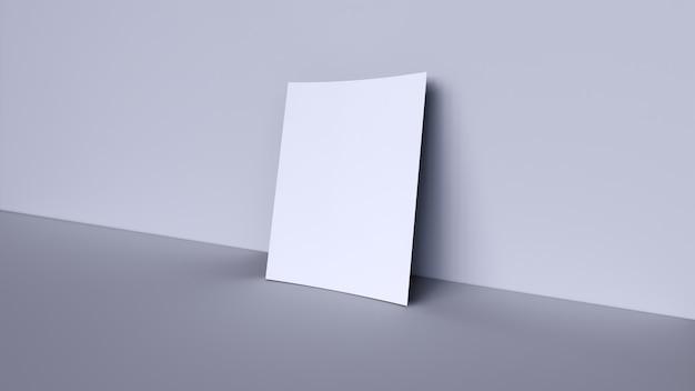 灰色の背景に白の空白のバナー Premium写真
