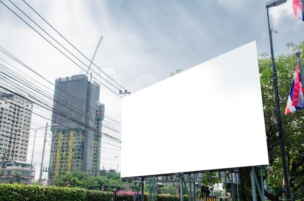 Blank big billboard at office building. Premium Photo