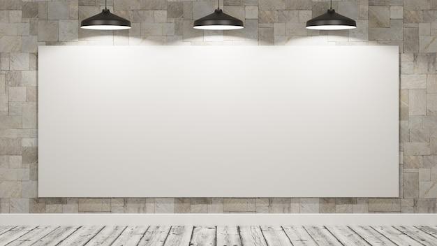Пустой рекламный щит в комнате, освещенной лампами Premium Фотографии