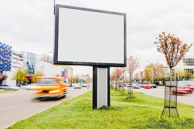 Blank billboard on the roadside Free Photo