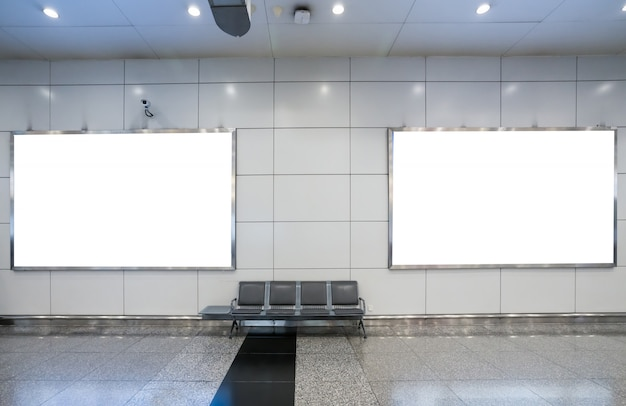 Blank billboard in underground, useful for advertisement Premium Photo