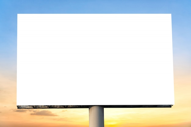 Blank billboard with empty screen and beautiful cloudy sky for outdoor advertising poster. Premium Photo