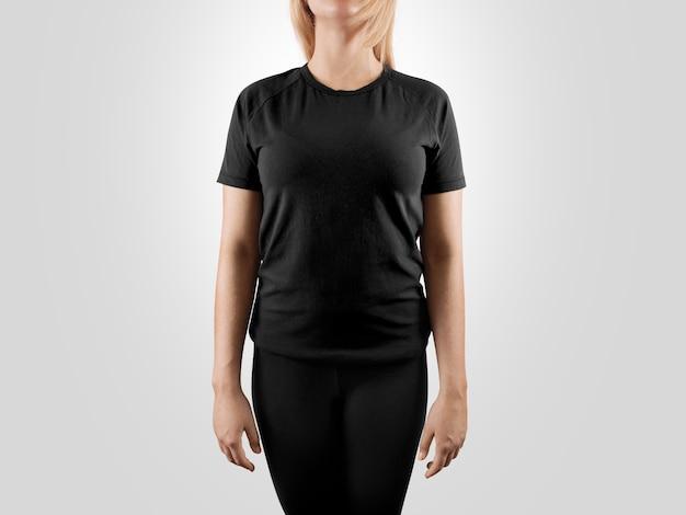 あなたのデザインの空白の黒い女性tシャツ Premium写真