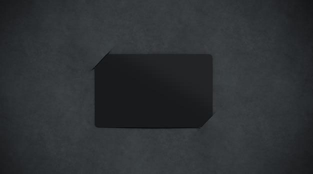 空白の黒い紙のカードホルダー、上面図、3dレンダリング。 Premium写真