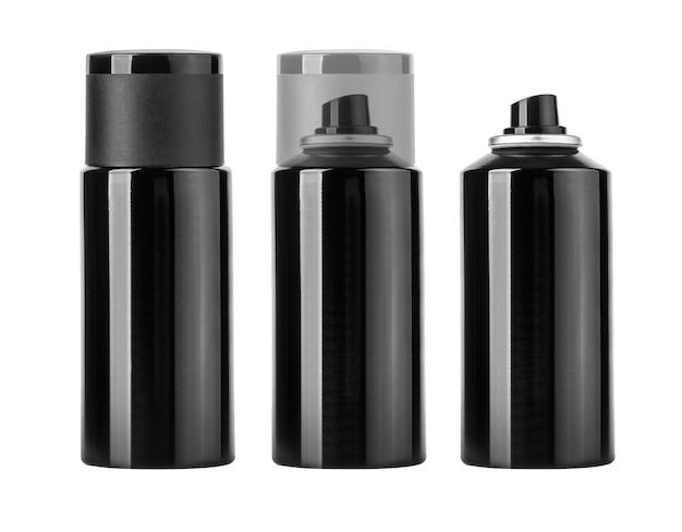 Пустой черный баллончик, изолированные на белом Premium Фотографии
