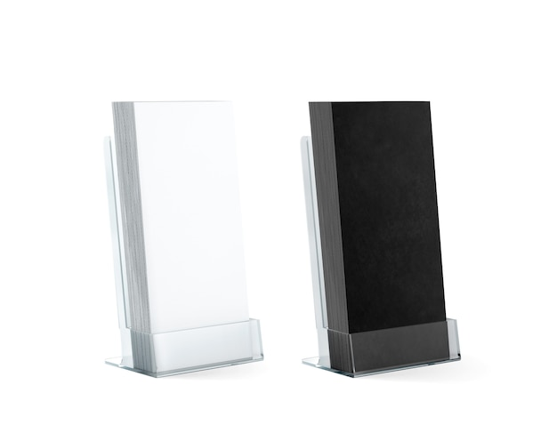 Blank black and white flyers stack mockups in glass plastic holder Premium Photo