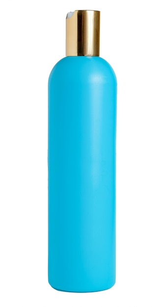 Blank blue plastic bottle isolated on white background. packaging for cosmetic, shampoo. Premium Photo