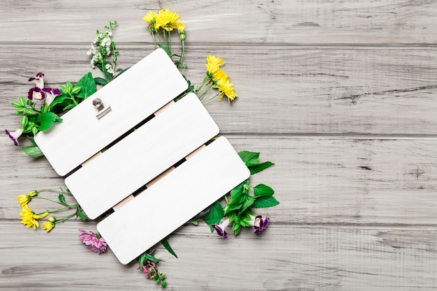 Blank board and beautiful flowers Free Photo
