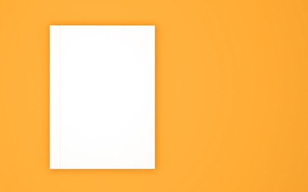 Blank book cover template isolated on yellow Premium Photo