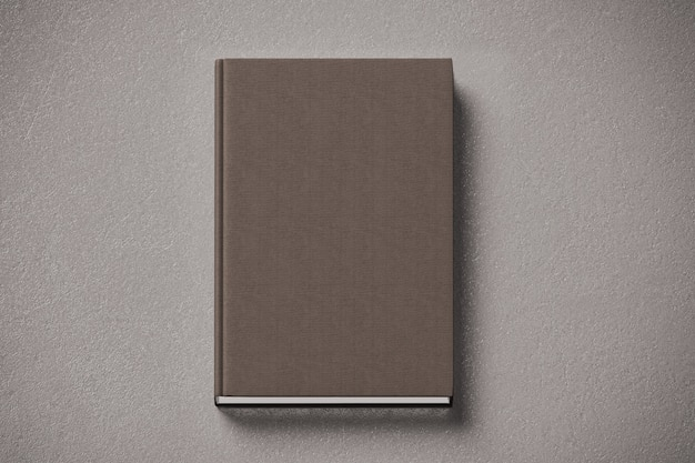 Blank brown tissular hard cover book mock up, front side Premium Photo