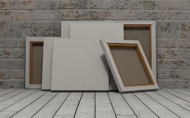 レンガの壁に白いキャンバスのレンダリング3dは 無料写真