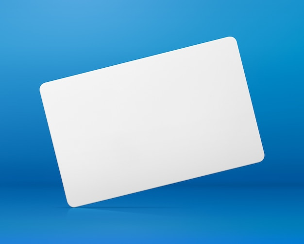 Blank card on blue background. blank name tag for design. Premium Photo