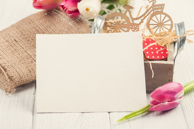 Blank card with decorations Premium Photo