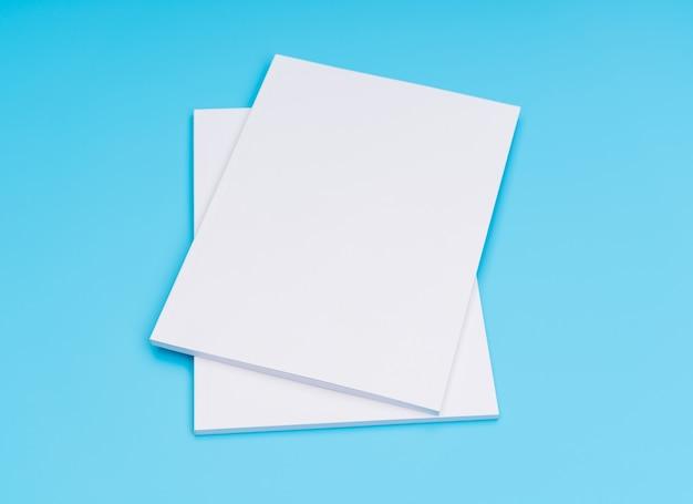 Blank catalog, magazines,book mock up on blue background. . Free Photo