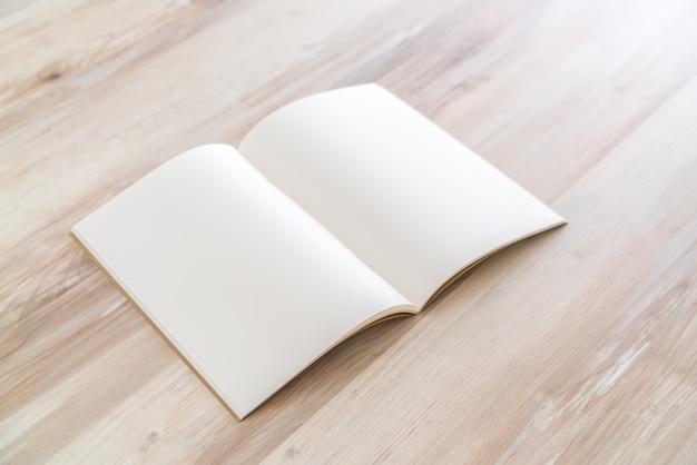 Blank catalog, magazines,book mock up on wood background Free Photo