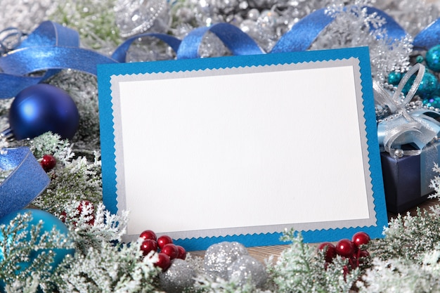Blank christmas card with decoration Photo | Free Download