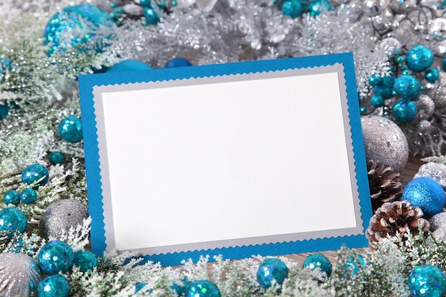 Blank christmas card with silver and blue decoration Photo | Free ...