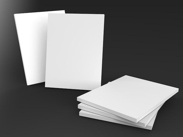책, 잡지, 메모장, 전단지, 검은 배경에 브로셔 빈 커버 프리미엄 사진