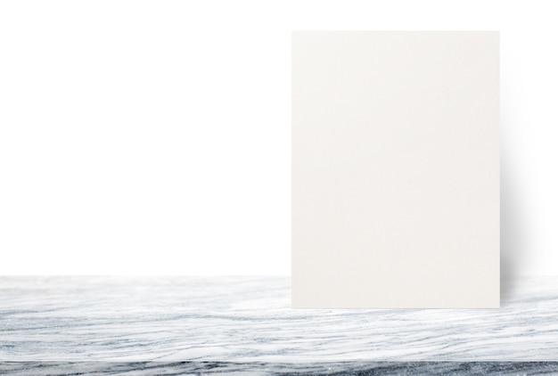 Blank Eco Textured Paper Poster On Stone Table Top At White