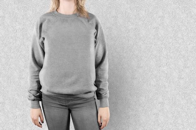 Blank female sweatshirt mock up isolated Premium Photo