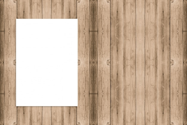 blank folded paper poster hanging on wooden mock up for adding your design