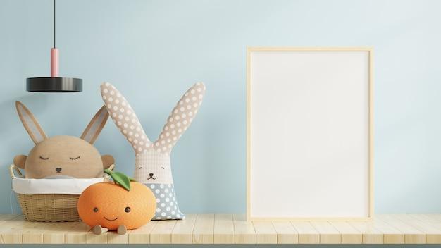빈 프레임 및 파란색 벽 배경, 3d 렌더링 아이 방 인테리어에 장난감 프리미엄 사진