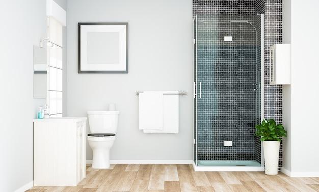 Макет пустой рамки на минимальной серой ванной Premium Фотографии