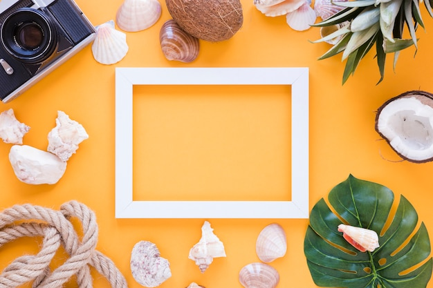 Blank frame with camera, shells and fruits Free Photo