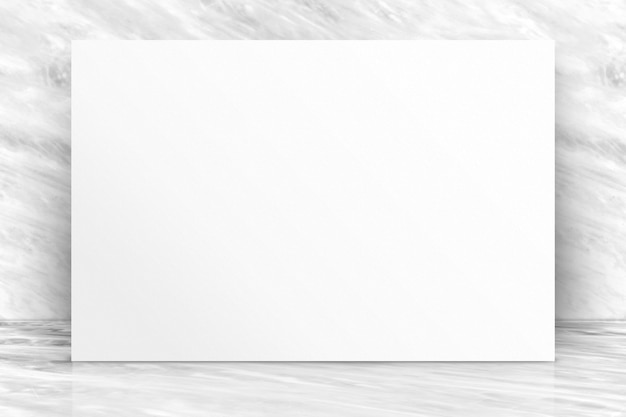 Blank long white paper poster at luxury white glossy marble wall and floor Premium Photo