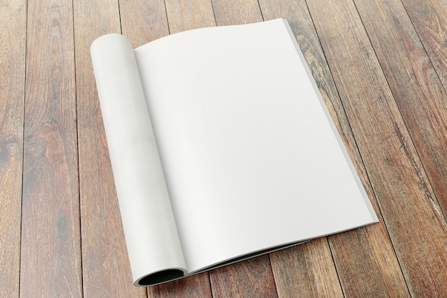 Blank magazine pages on wooden background. Premium Photo