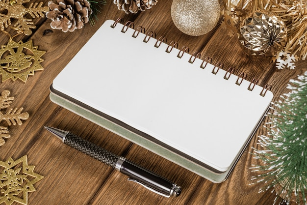 Blank notebook  on christmas and new year time Premium Photo