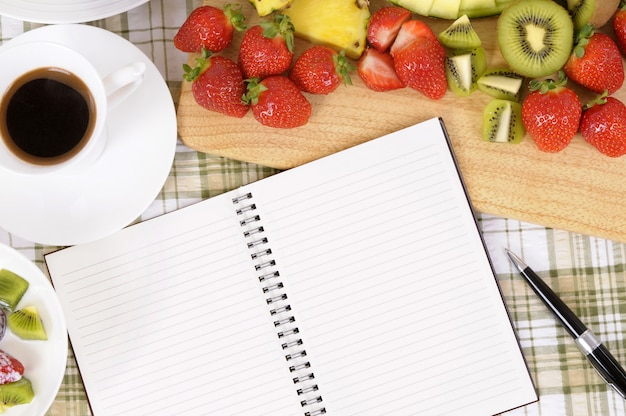 Blank notebook in the kitchen Free Photo