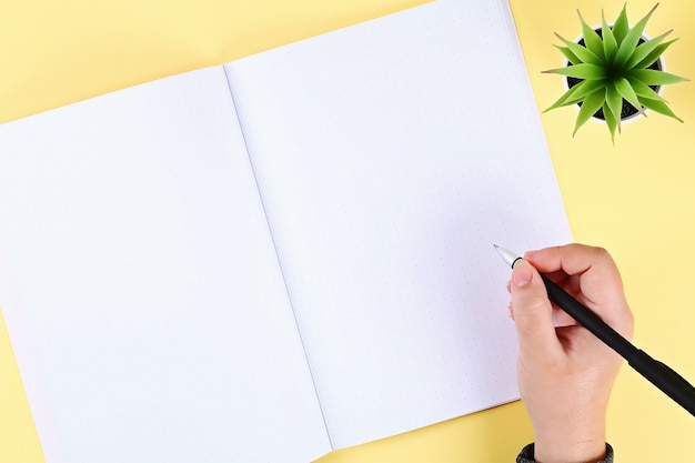 Blank notepad on yellow table, plant, pen. top view, flat lay. mockup, copy space. Premium Photo