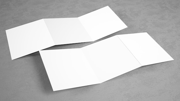 Blank open trifold brochure mockup Premium Photo