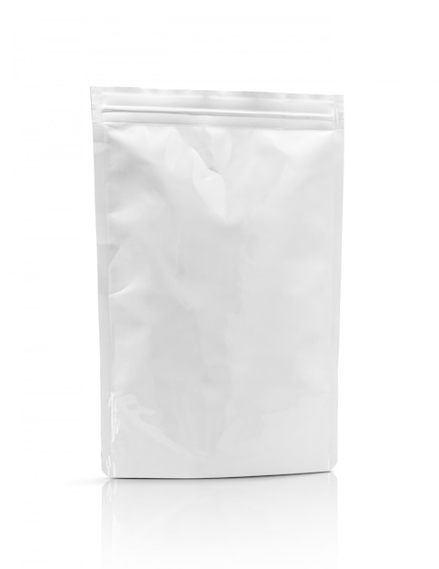 Blank packaging aluminum foil pouch isolated Premium Photo
