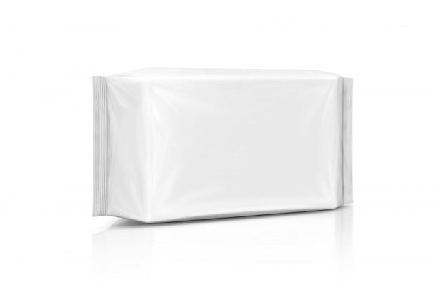 Blank packaging paper wet wipes pouch isolated on white background Premium Photo