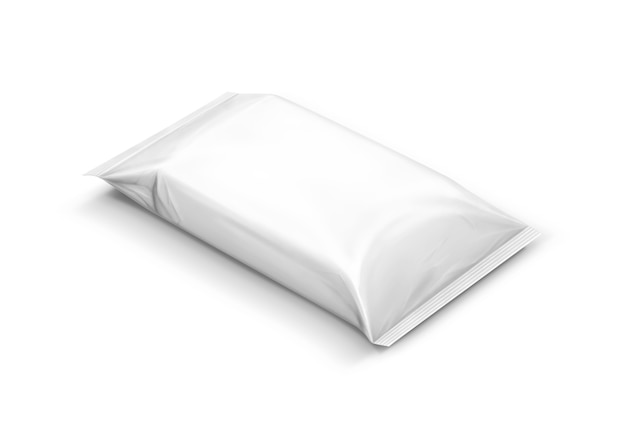 Blank packaging paper wipes pouch isolated Premium Photo