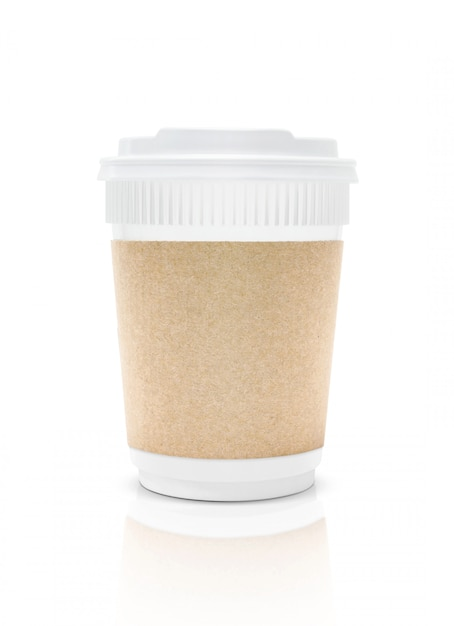 Blank packaging plastic coffee cup to go isolated Premium Photo