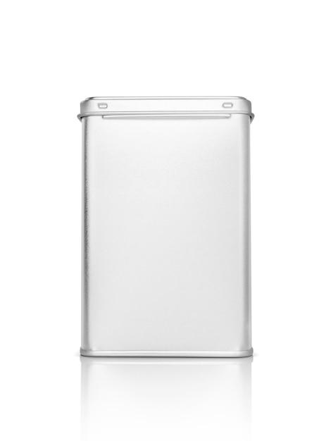 クリッピングパスで白に分離されたプレミアム製品デザインの空白のパッケージシルバー金属ボックス Premium写真