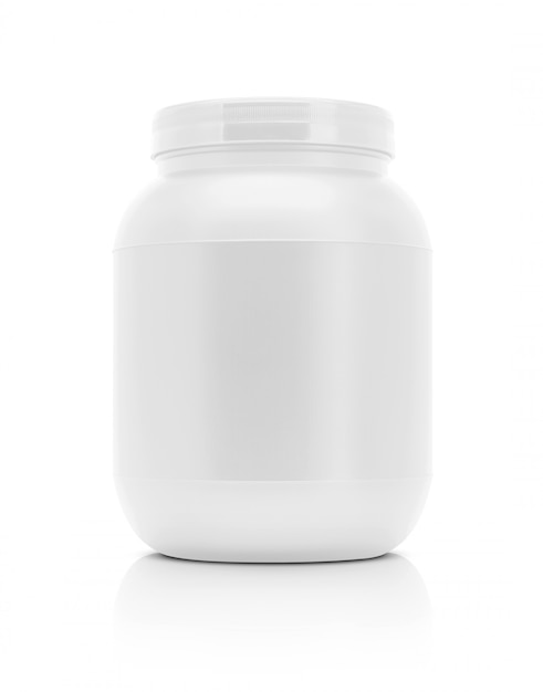 Blank packaging supplement product white plastic bottle isolated Premium Photo