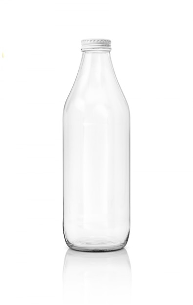 Blank packaging transparent glass bottle for beverage product isolated on white background Premium Photo