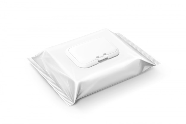 Blank packaging wet wipes pouch isolated Premium Photo
