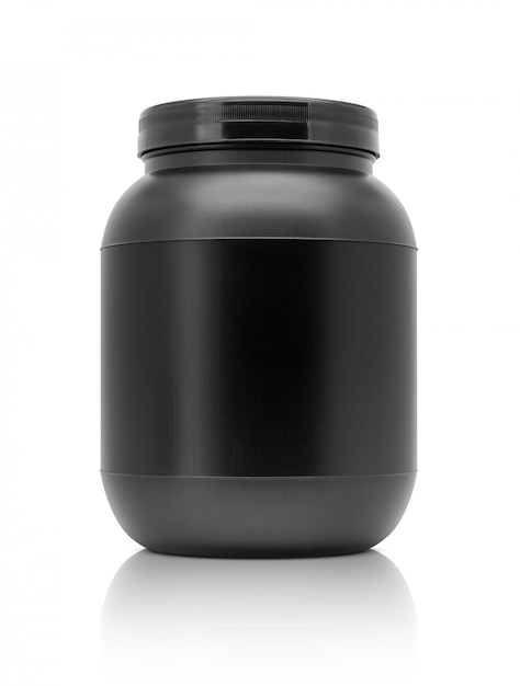 Blank packaging whey protein black plastic bottle isolated on white background Premium Photo