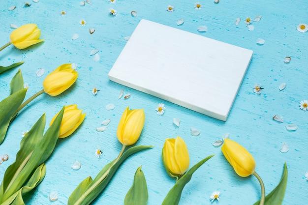 白紙と黄色のチューリップ 無料写真