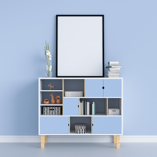 Blank photo frame on the cabinet for mockup Premium Photo